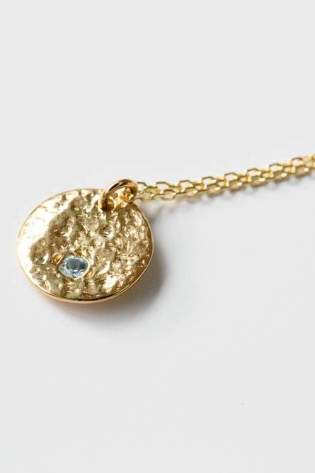 925 hammered round mini cz necklace