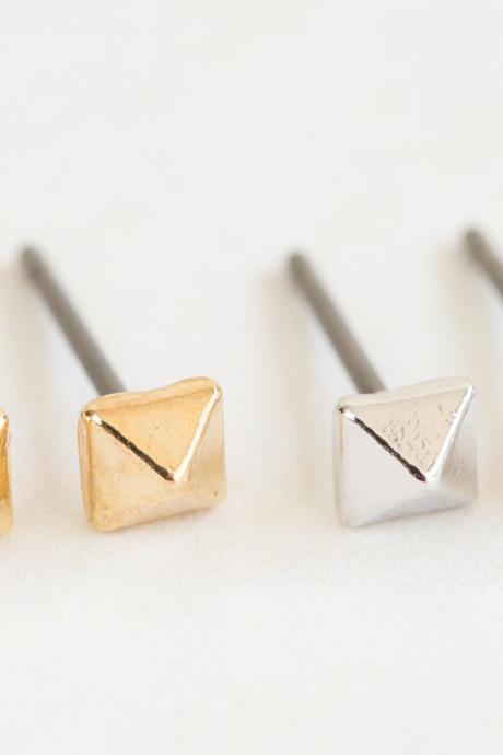 mini square cone earrings