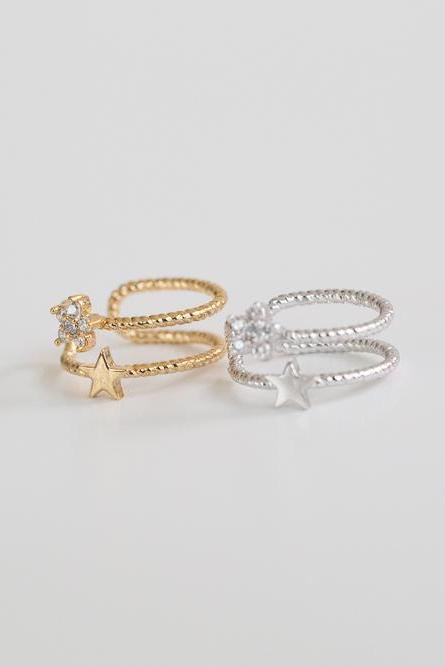 2 mini cz star ear cuff