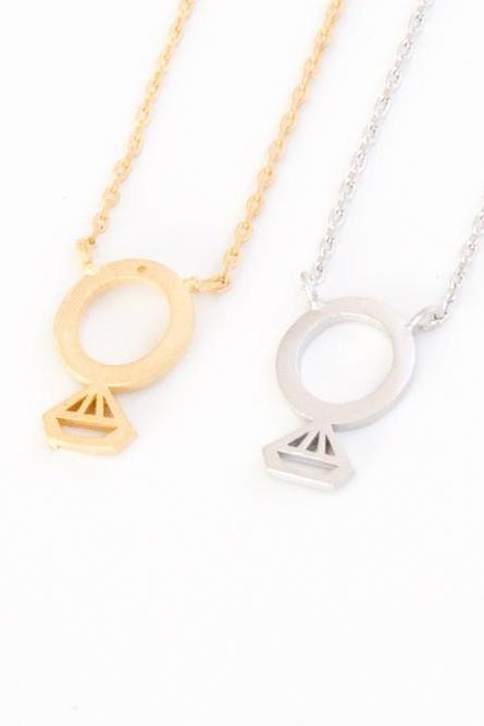 Flat diamond ring line Necklace