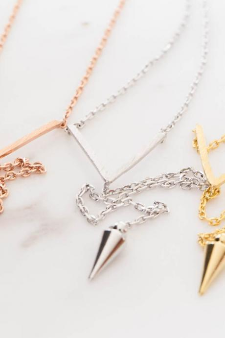 V line bullet drop necklace